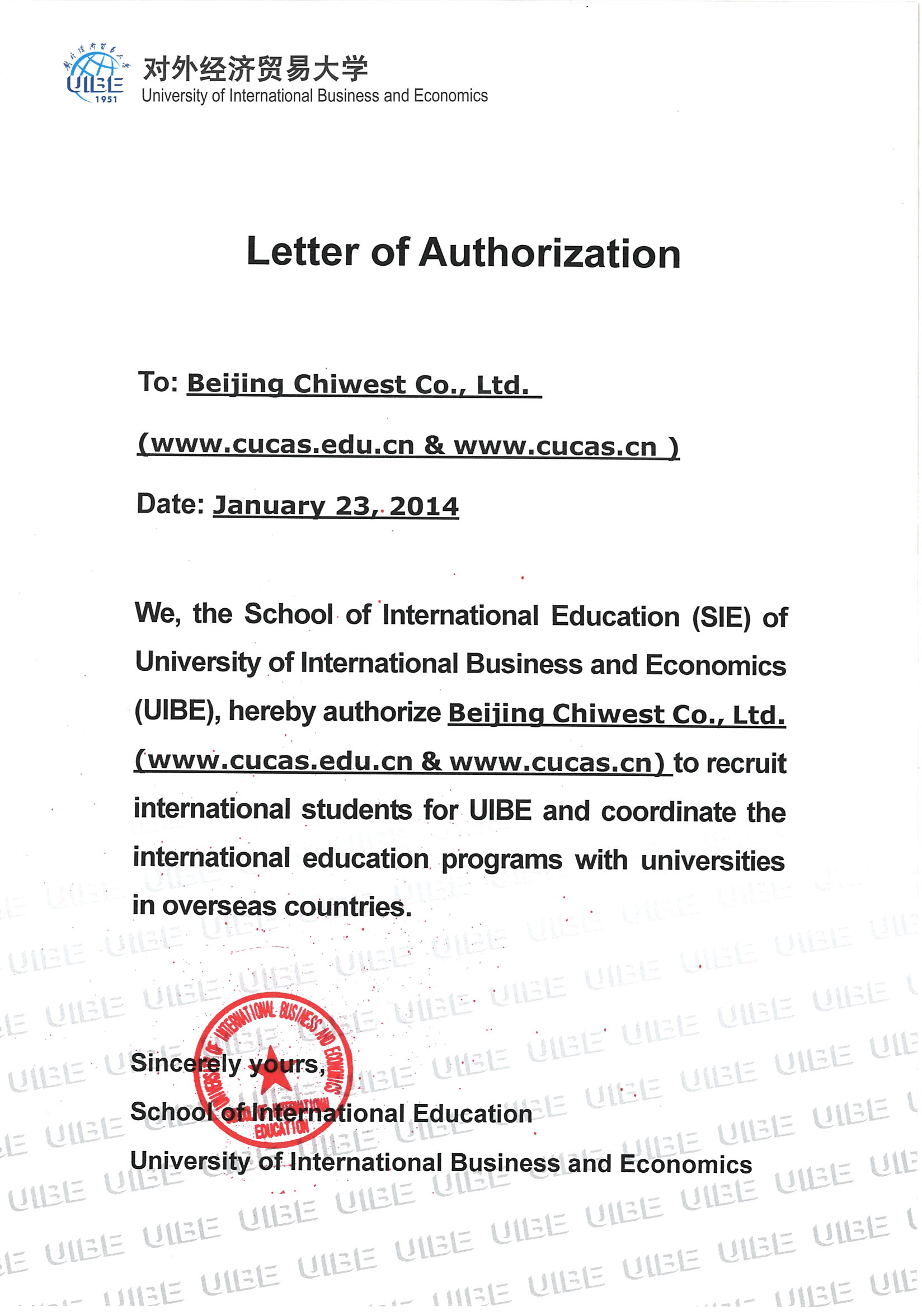 University Of International Business And Economics Authorization Letter |  Study In China | CUCAS